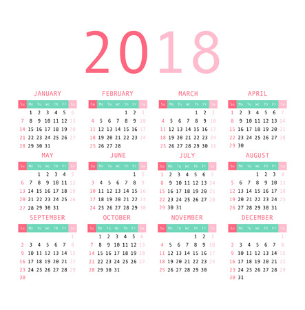 Calendar 2018 year simple style. Week starts from sunday. Vector illustration