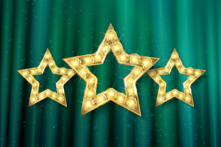 Retro light sign. Three gold stars on green curtain background with rays. Vintage style banner. Vector illustration