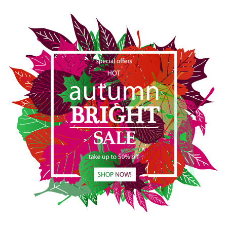 Hello Autumn Sale text poster of September leaf fall or autumnal foliage of maple, oak acorn and elm for shopping sale design or promo poster and frame leaflet or web banner. On a white background Illustration