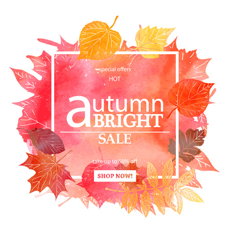 Autumn leaf foliage watercolor. Autumn sale. Fall sale. Web banner or poster for e-commerce, on-line cosmetics shop, fashion beauty shop, store. Vector illustration. EPS 10 Illustration