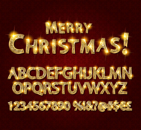 Merry Christmas with Golden Letters and Numbers. On a dark background. Easy to edit. Vector illustration