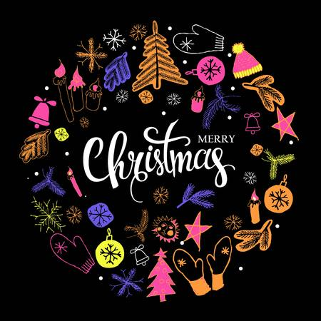 Christmas greeting card with text Merry Christmas and wreath with many winter doodles on black background