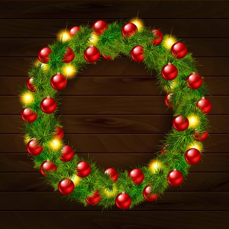 Christmas wreath, isolated on wooden background. Vector illustration
