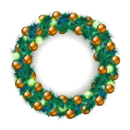 Christmas wreath, isolated on white. Vector illustration Illustration