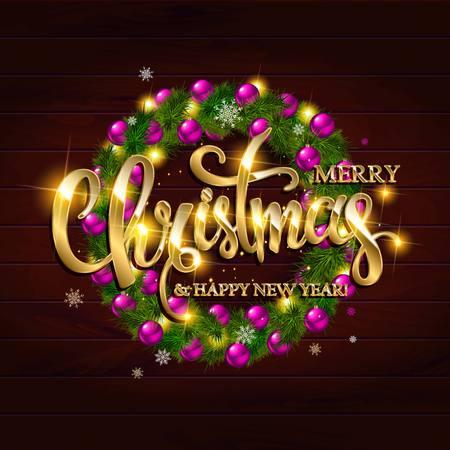 Vrolijke Kerstbriefing met gouden ornamenten en krans decoratie van ballen, sneeuwvlokken