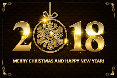 countdown: Happy New Year 2018. Vector New Year background.