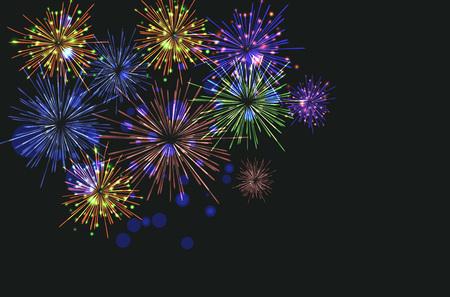 Brightly Colorful Fireworks on twilight background. Vector illustration Illustration
