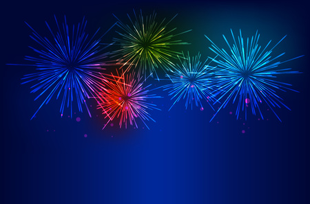 Brightly Colorful Fireworks on twilight background. Vector illustration Çizim