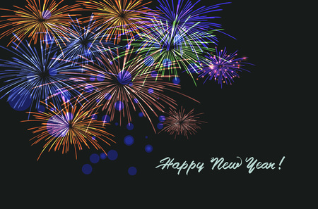 Feliz año 20186 nuevo. Saludos de temporadas, diseño colorido de fuegos artificiales. Ilustración vectorial