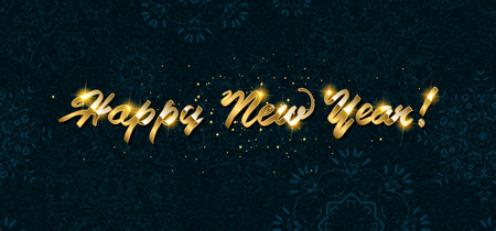 Gold Happy New Year greeting text on dark background. Luxury lettering for vip holiday card design Vettoriali