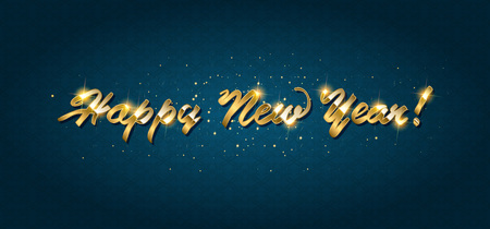 Gold Happy New Year greeting text on dark background. Luxury lettering for vip holiday card design Vectores