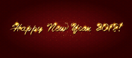 Gold Happy New Year greeting text on dark background. Luxury lettering for vip holiday card design Illustration