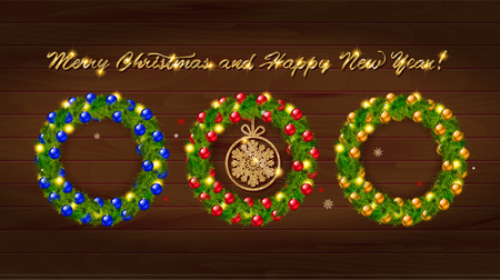 guirnaldas de navidad: Set of Christmas wreaths with Christmas balloons and the words happy new year. On wooden background
