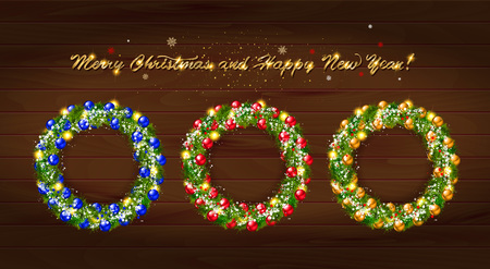 Set of Christmas wreaths with Christmas balloons and the words happy new year. On wooden background