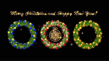 Set of Christmas wreaths with Christmas balloons and the words happy new year. On black background Illustration