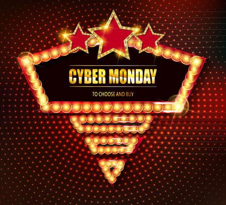 Cyber ? ? monday marco retro luz Foto de archivo - 88243173