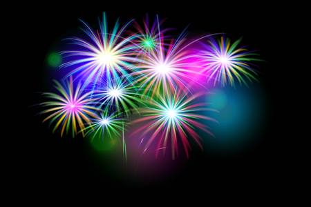 set of isolated vector fireworks on a black background. Illustration