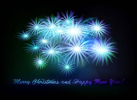 Postcard Happy New Year 2018 and Merry Christmas on a fireworks vector illustration.
