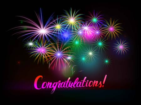 Congratulations Word With Fireworks. Vector illustration Illustration