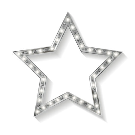 perforation tape: vector silver star on the white background. Vector illustration