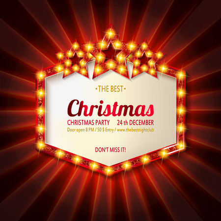 Invitation merry christmas party poster banner and card design template. With three golden stars. Happy holiday and new year glass ball theme concept. In the retro cinematic style Illustration