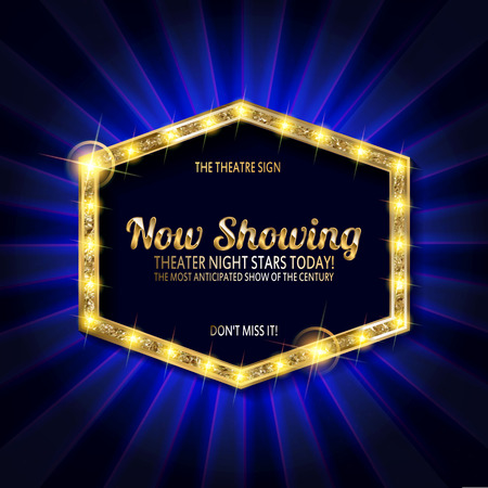 Theater sign or cinema sign on curtain with spot light Vector illustration Illustration