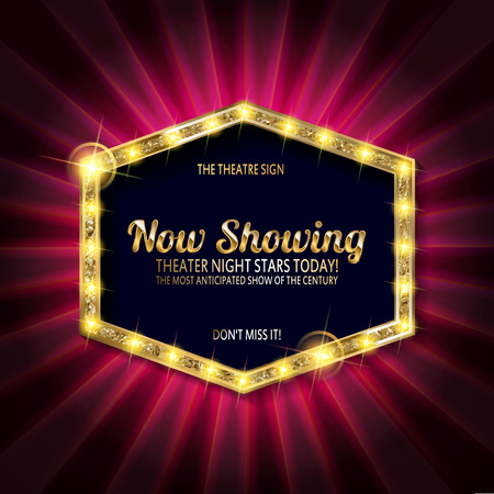 theater sign or cinema sign on curtain with spot light,frame,border. Vector illustration