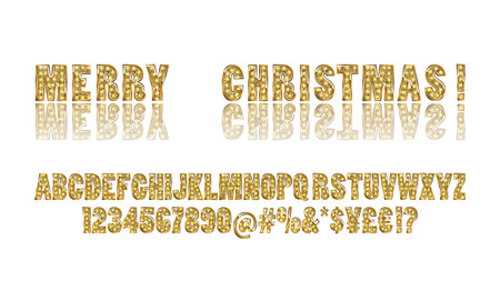 Golden alphabet with bulb lamps. Vector illustration. Is the inscription Merry Christmas