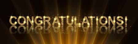 Felicitaciones Felicitaciones Gold Banner. Win, fiesta de cumpleaños, venta, vacaciones Kid diseño Vector ilustración