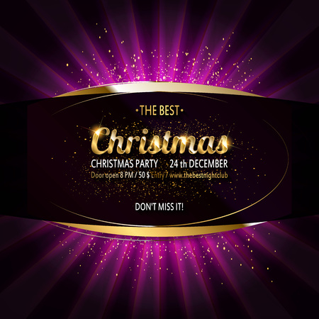 Gold Christmas and New Year banner with light bulbs. Christmas and new year background for design for banners, flyers, Invitations, cards. On a dark background.