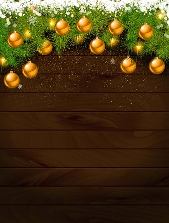 Christmas decoration on wooden background. Decorations over wood. Illustration