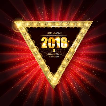 Banner with light bulbs. Merry Christmas greetings card and new year background for design for banners, flyers, Invitations, cards.  イラスト・ベクター素材