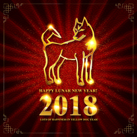 Symbol of chinese new 2018 year. Greeting card with golden yellow dog design with inscription. Vector llustration poster.