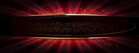 Glitter dorati su una superficie piana illuminata da un riflettore luminoso. Illustrazione vettoriale Versione rossa Archivio Fotografico - 93012357