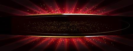 gouden glitter op een vlak oppervlak verlicht door een felle spot. Vector illustratie. Rode versie Stock Illustratie