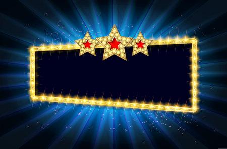 Cinema gold banner. Vector illustration