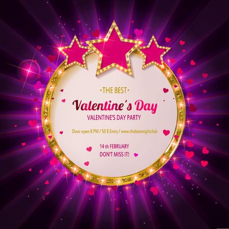 Festa di San Valentino Retro bandiera leggera per l'illustrazione di vettore di San Valentino. Bandiera d'epoca su sfondo bianco. Archivio Fotografico - 93081460