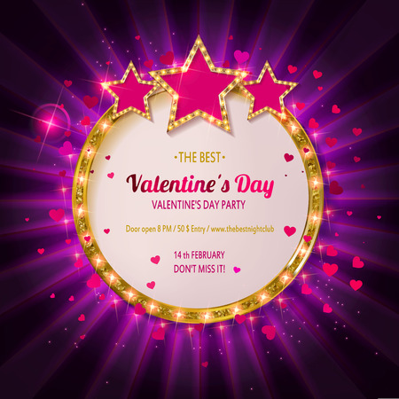 Valentines day party. Retro light banner for Valentines day vector illustration. Vintage banner on white background. Ilustracja