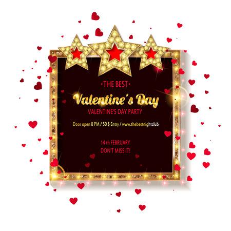Valentine's day party. Retro light banner for Valentine's day vector illustration. Vintage banner on white background.