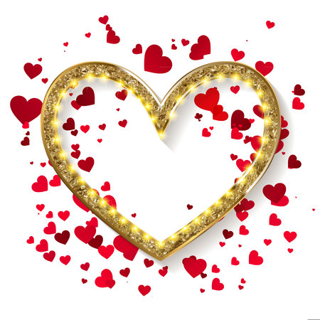 Golden glitter heart frame with space for text. Vector golden dust isolated on white.