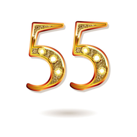 3d number fifty five in gold Vector illustration