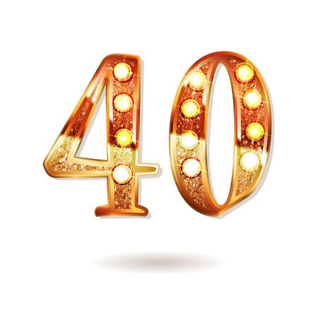 Forty years anniversary celebration icon . 40th anniversary icon. Vector illustration.