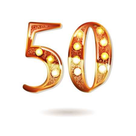 50 years gold anniversary celebration simple icon , isolated on white background. On the background of a red curtain