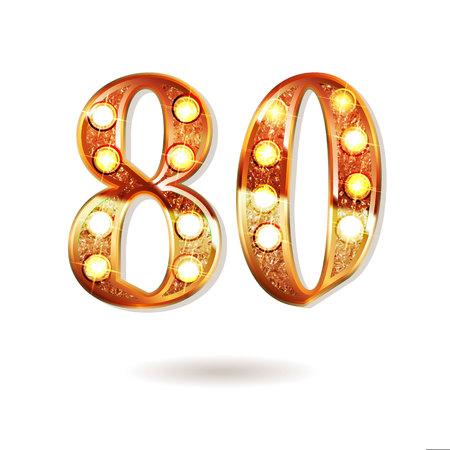 golden number - 80 Vector illustration