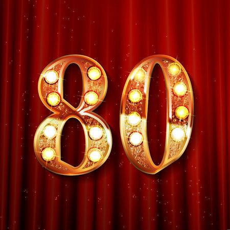 golden number - 80. Vector illustration On the background of a red curtain Ilustração