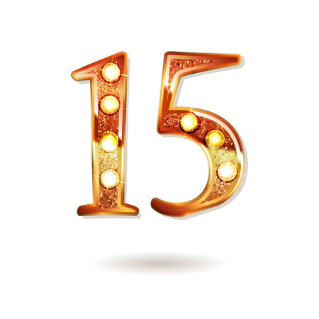 Celebrating of 15 years anniversary, logotype golden colored isolated on white background. Vector illustration
