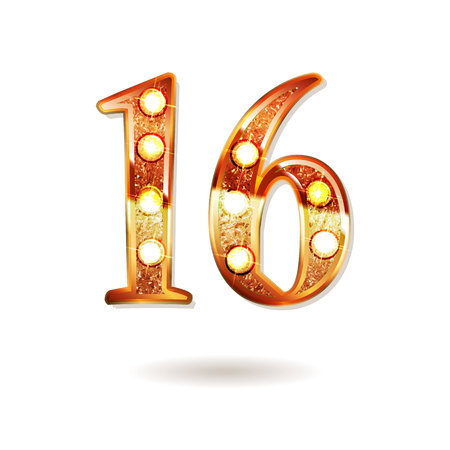 Celebrating of 16 years anniversary, logotype golden colored isolated on white background. Vector illustration
