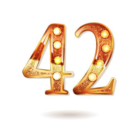 42 주년 기념 로고 타입. 황금 색상과 금 색종이, 기념일 축하, 초대장 카드, 인사말 카드의 벡터 디자인