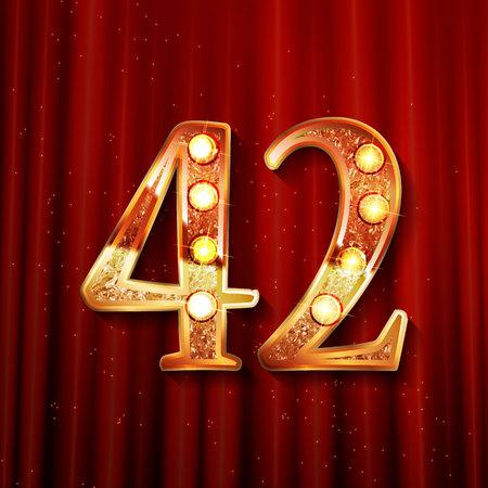 42 주년 기념 로고 타입. 기념일 로고 황금 색상과 금 색종이, 축 하, 초대장 카드, 인사말 카드에 대 한 벡터 디자인