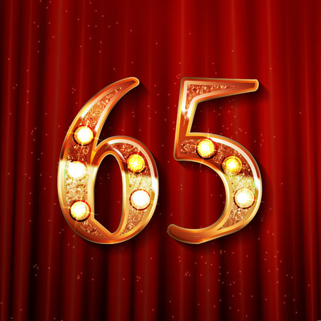 65 years anniversary celebration design with gold color composition. On the background of a red curtain. Vector illustration